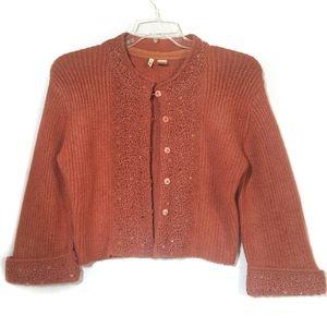 Anthropologie Moth Cardigan Sweater Crochet Accent